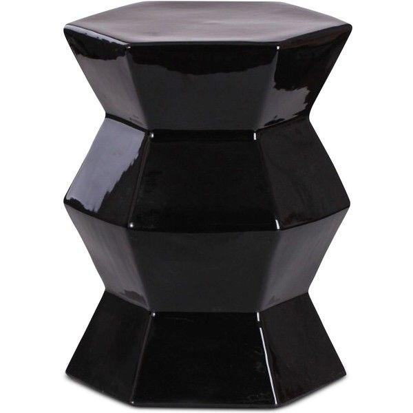 Ogasa Ceramic Garden Stool, Quick Ship (u20ac130) ❤ Liked On Polyvore Featuring  Home, Outdoors, Patio Furniture, Outdoor Stools, Black, Black Ceramic Garden  ...