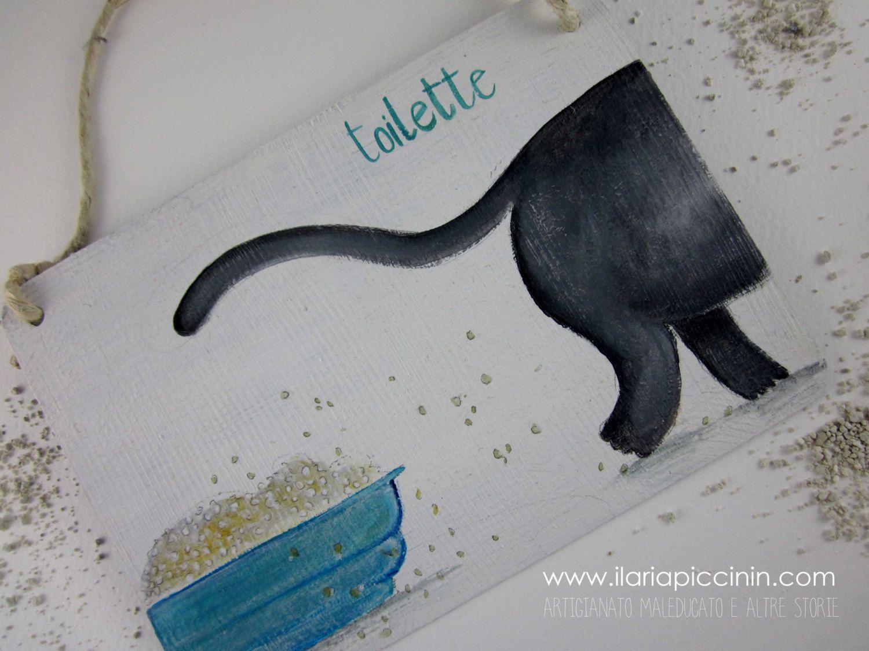 targa illustrata per la porta del bagno - targa in legno con ... - Targhe Per Toilette