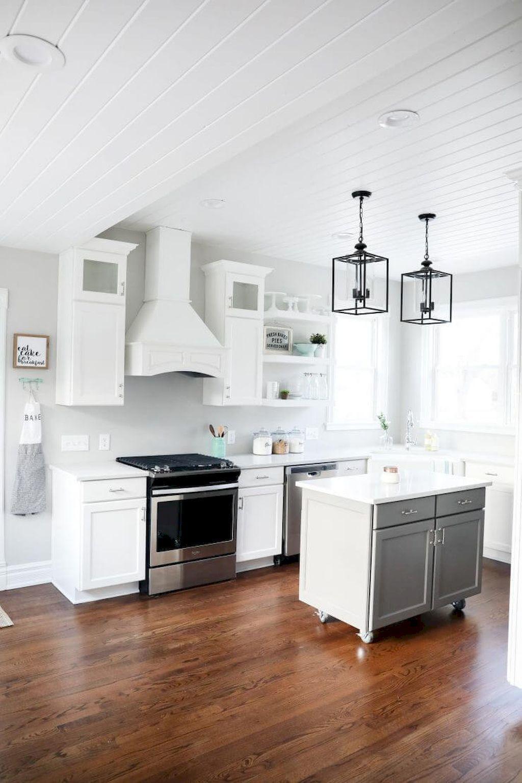 76 elegant gray kitchen cabinet makeover for farmhouse decor ideas modern farmhouse kitchens on farmhouse kitchen grey cabinets id=45035