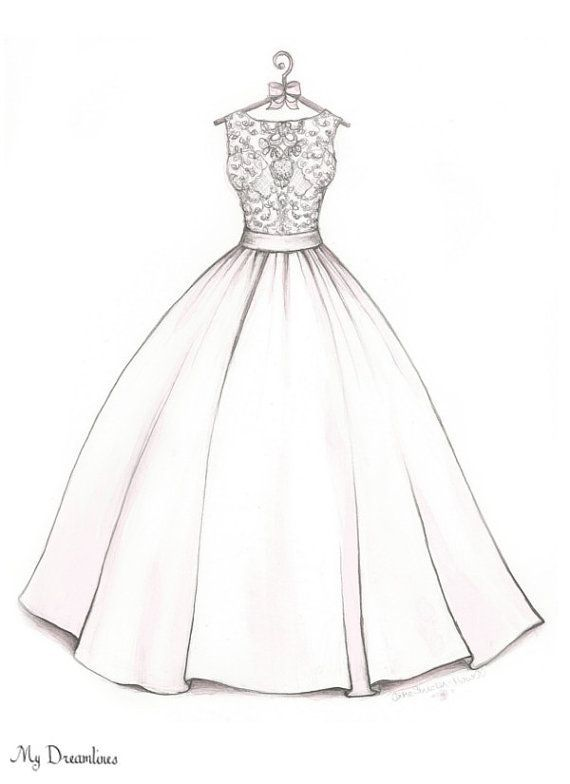 Bridal Shower Gift Wedding Dress Sketch Bride From Maid Of Honor