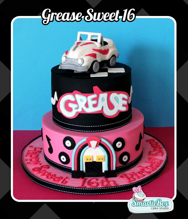 Sweet 16 Grease Themed Cake With Car Topper And Logo