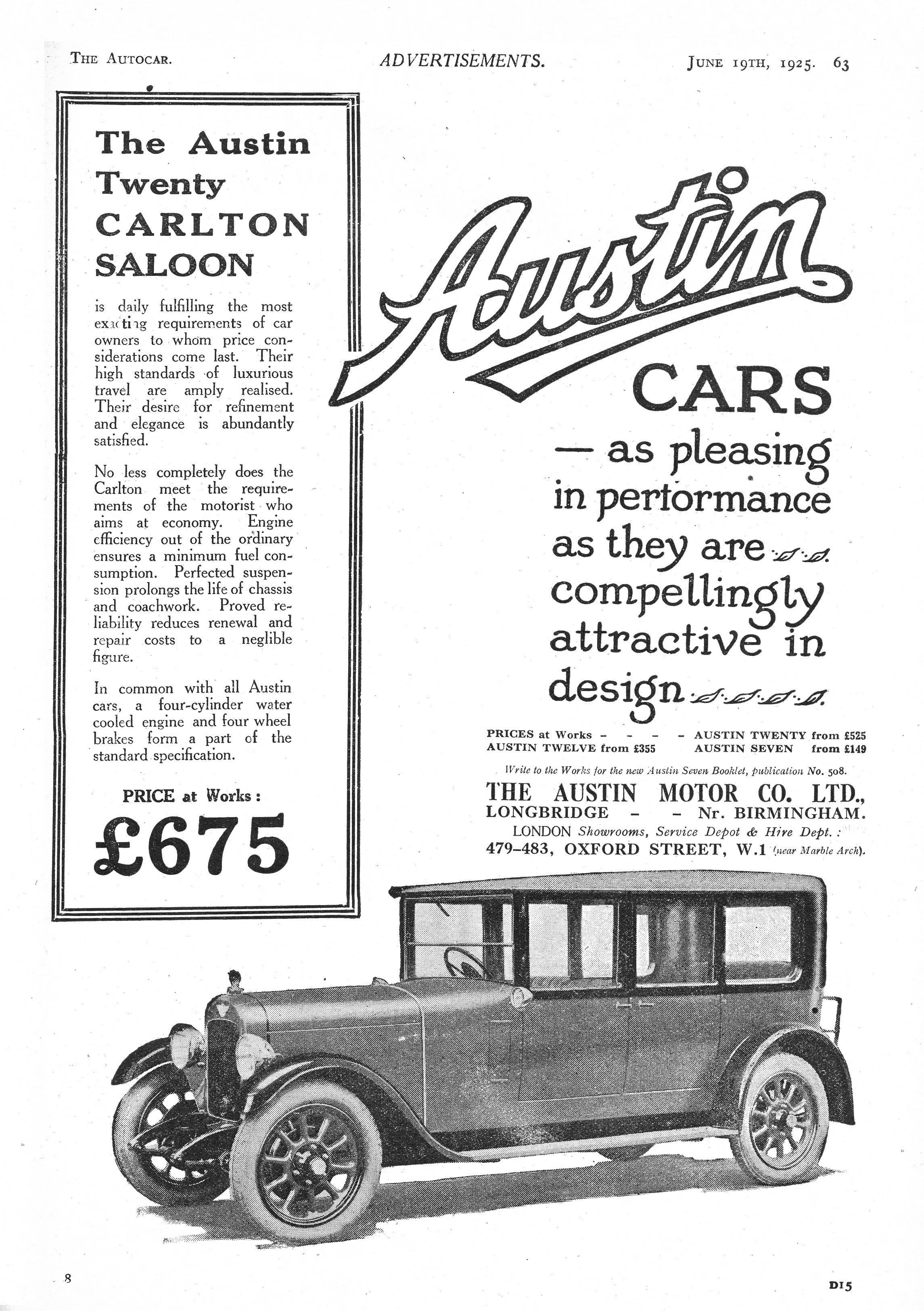 Austin Car Autocar Advert 1925 - Austin Twenty 20 Carlton Saloon ...