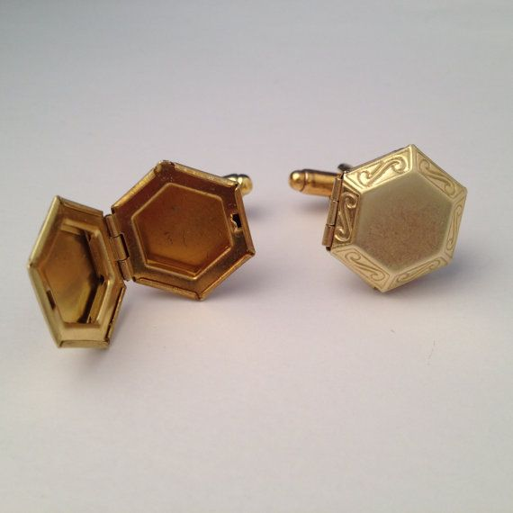 Men's Brass Geometric Locket Cufflinks, New Pair of Handcrafted Gold Tone Special Keepsake Hexagon Cuff Links - Guys Holiday  / Wedding Gift on Etsy, $25.99