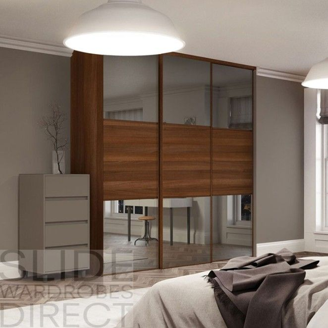 Glass Linear Wardrobe With Walnut Panels Wardrobe Doors Sliding Wardrobe Sliding Wardrobe Doors
