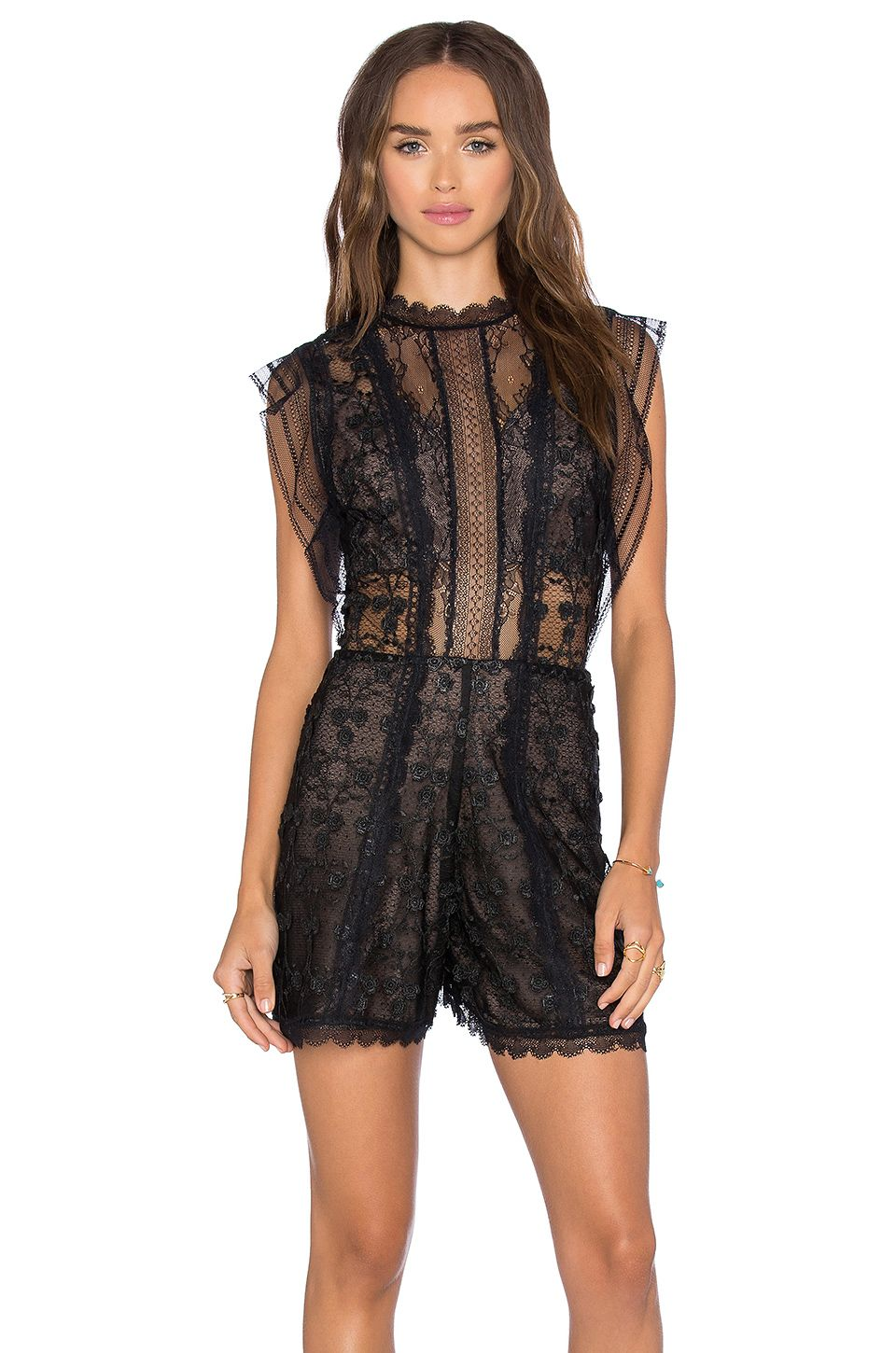 d00d869dd91 Alexis Lowe Romper in Black Flower Embroidery