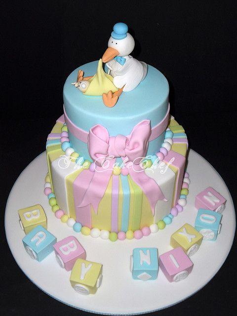 Baby Shower Cake   A Pastel Baby Shower Cake With Stork U0026 Bau2026   Flickr