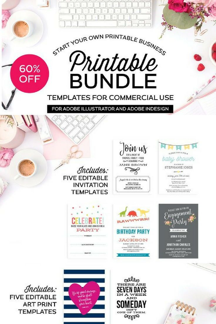 Printable template bundle social media template print templates printable template bundle social media template print templates and template maxwellsz