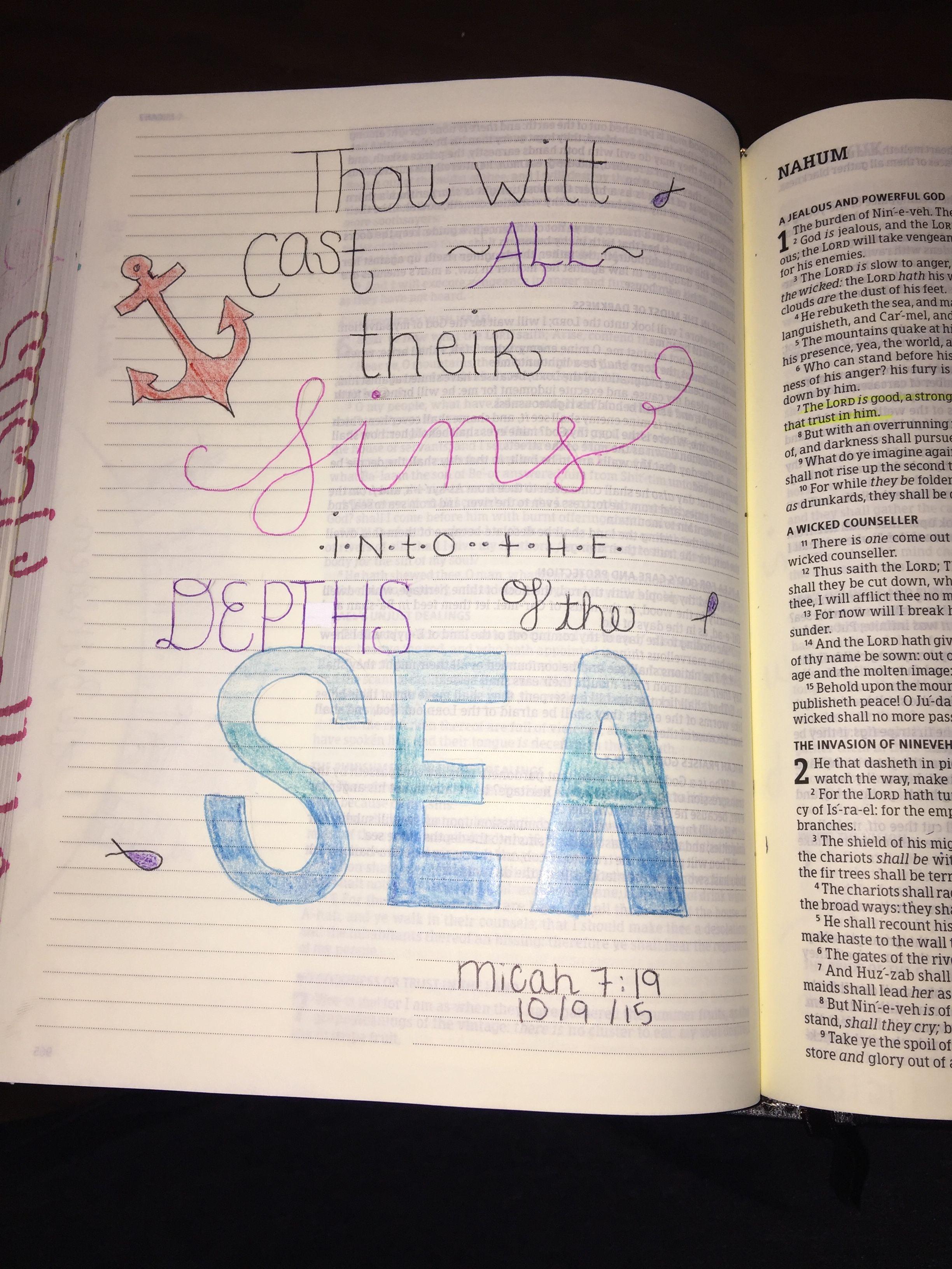 Micah 7:19 KJV, bible journaling. Lindsey Ramsey | Micah Bible ...