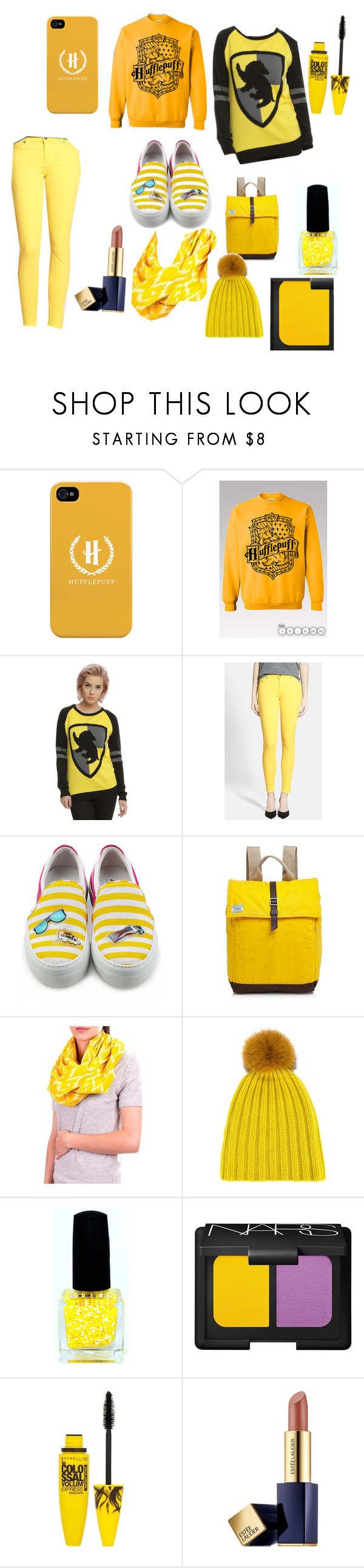 """""""Hufflepuff"""" by lizzy-pianist ❤ liked on Polyvore featuring Warner Bros., 7 For All Mankind, Joshua's, TOMS, NOVICA, DANIELAPI, NARS Cosmetics, Maybelline and Estée Lauder"""