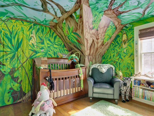 Cool Kids Room Design With Jungle Inspiration : Kids Bedroom Interior  Fitted With Jungle Wallpaper And Wooden Cradle