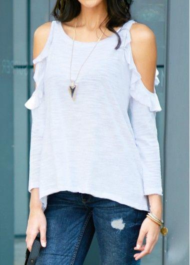 Asymmetric Hem White Cold Shoulder Long Sleeve Blouse on sale only US$30.16 now, buy cheap Asymmetric Hem White Cold Shoulder Long Sleeve Blouse at liligal.com