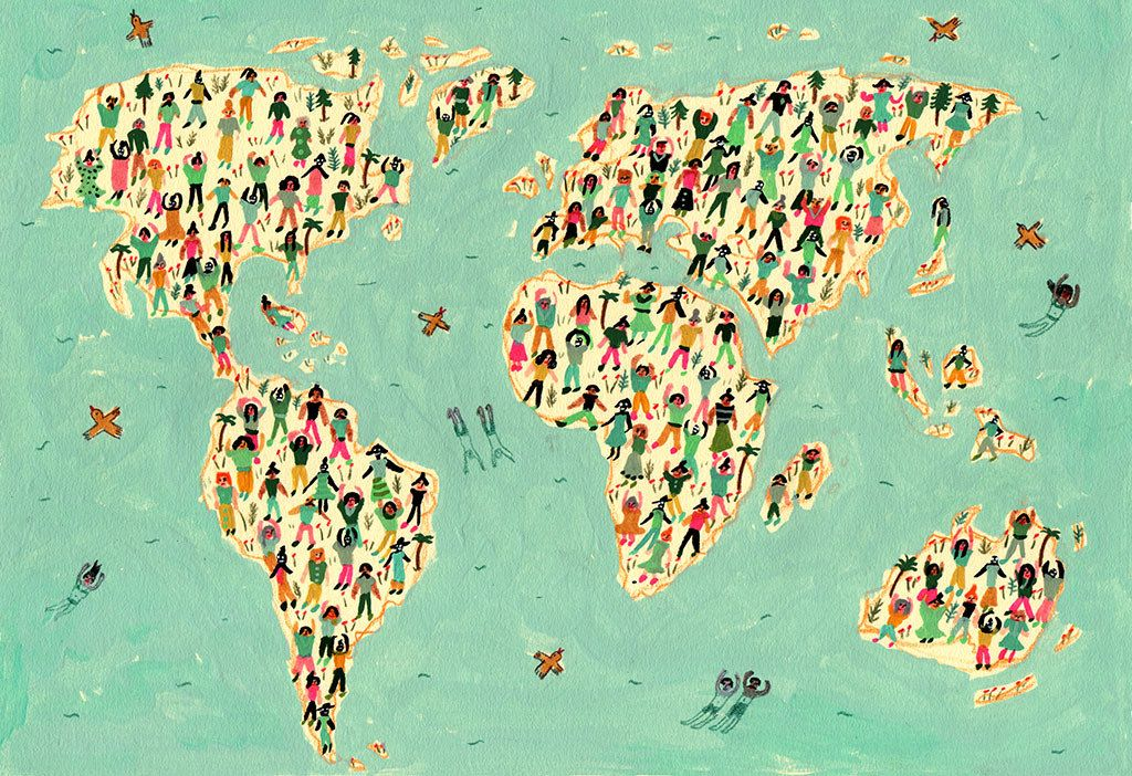 Dibujé el mapamundi para el número de marzo de la Revista Travesías, México.   Flickr - Photo Sharing!