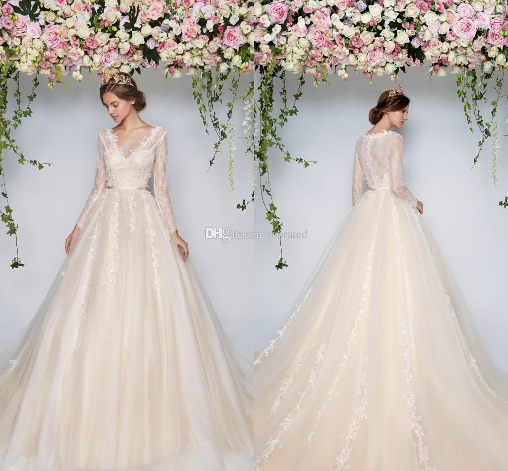 Vintage lace champagne wedding dress  Light Champagne  Country Wedding Dresses A Line VNeck Long