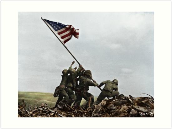 Raising The Flag On Iwo Jima 1945 Colorized Art Prints War Art Art Framed Art Prints