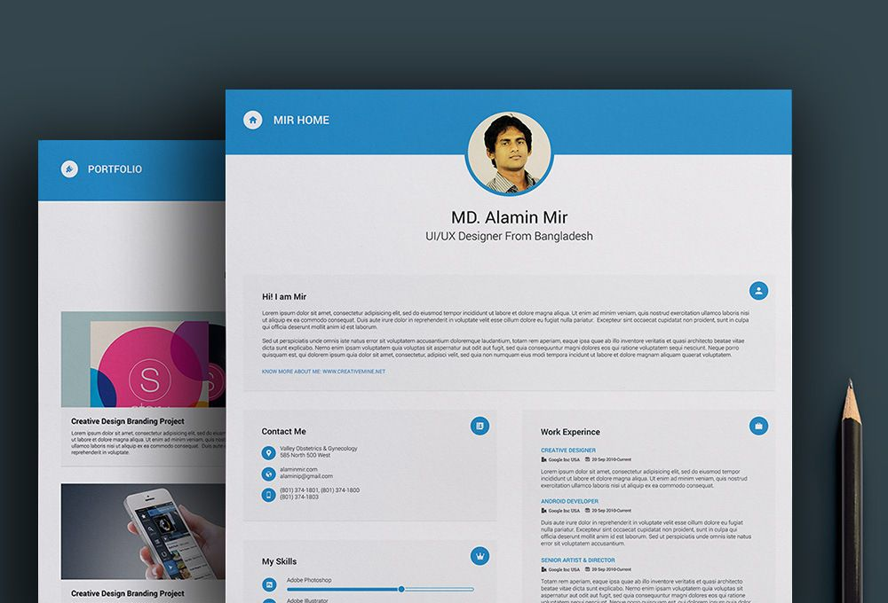 Resume Website Template Free Resume & Business Card Template  Graphic Design Layouts