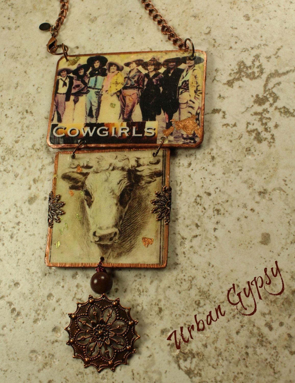Urban Cowgirl Hanging Collage Handmade Multi Ornament Wall Decor ...