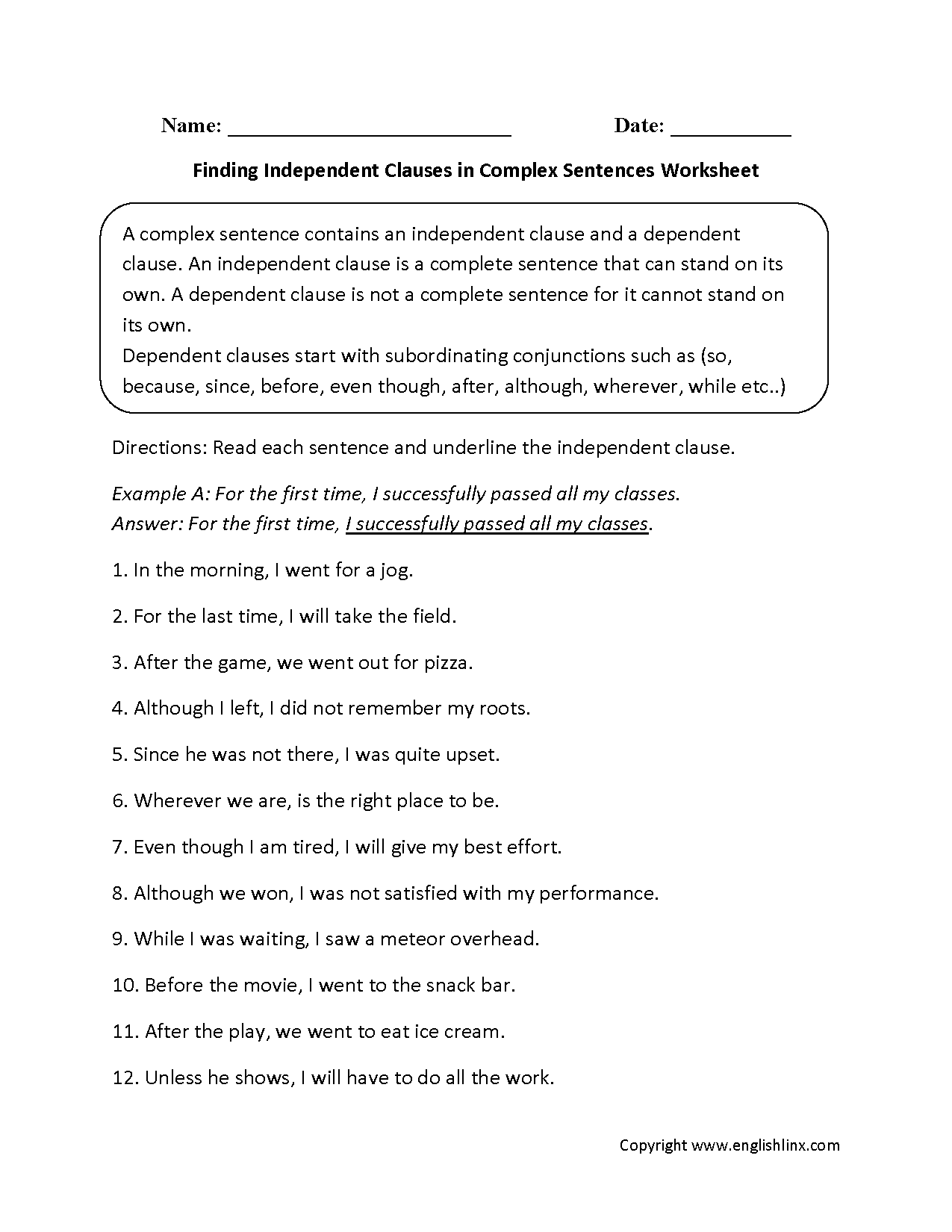 Finding Independent Clauses Complex Sentences Worksheets