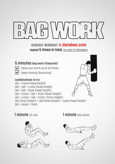Punch Bag Workout Kickboxing At Work Mma
