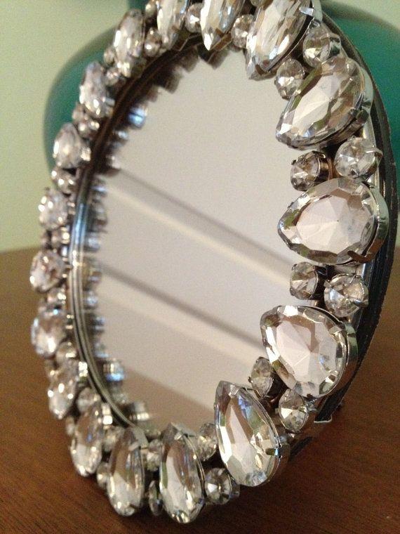 Rhinestone Wall Mirror round rhinestone frame mirror | love, etsy and rhinestones