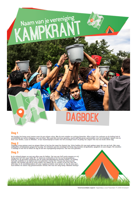 Kampverslag in een dagboek - kampkrant Happiedays