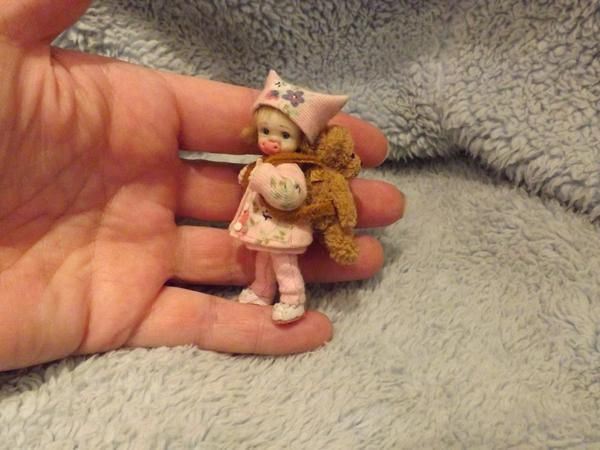 Miniature handmade BABY GIRL TODDLER & TEDDY BEAR BAG ooak ...