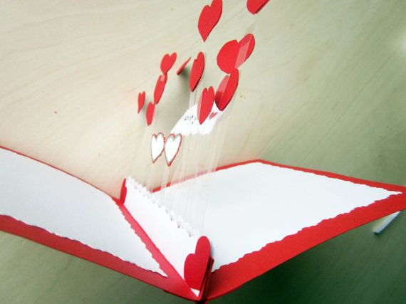 Anniversary diy cards ~ Hearts pop up love card anniversary card pop up heart card