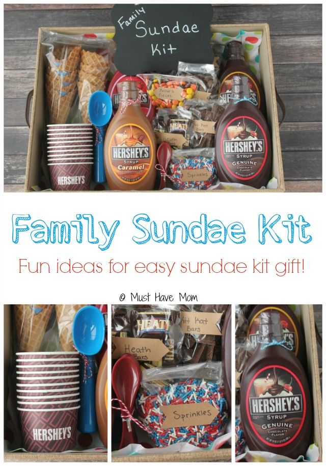 Diy Family Sundae Kit Idea Perfect For Neighbor Gift Outdoor Get Togethers And More Lots Of Cute Ideas To Make It Special
