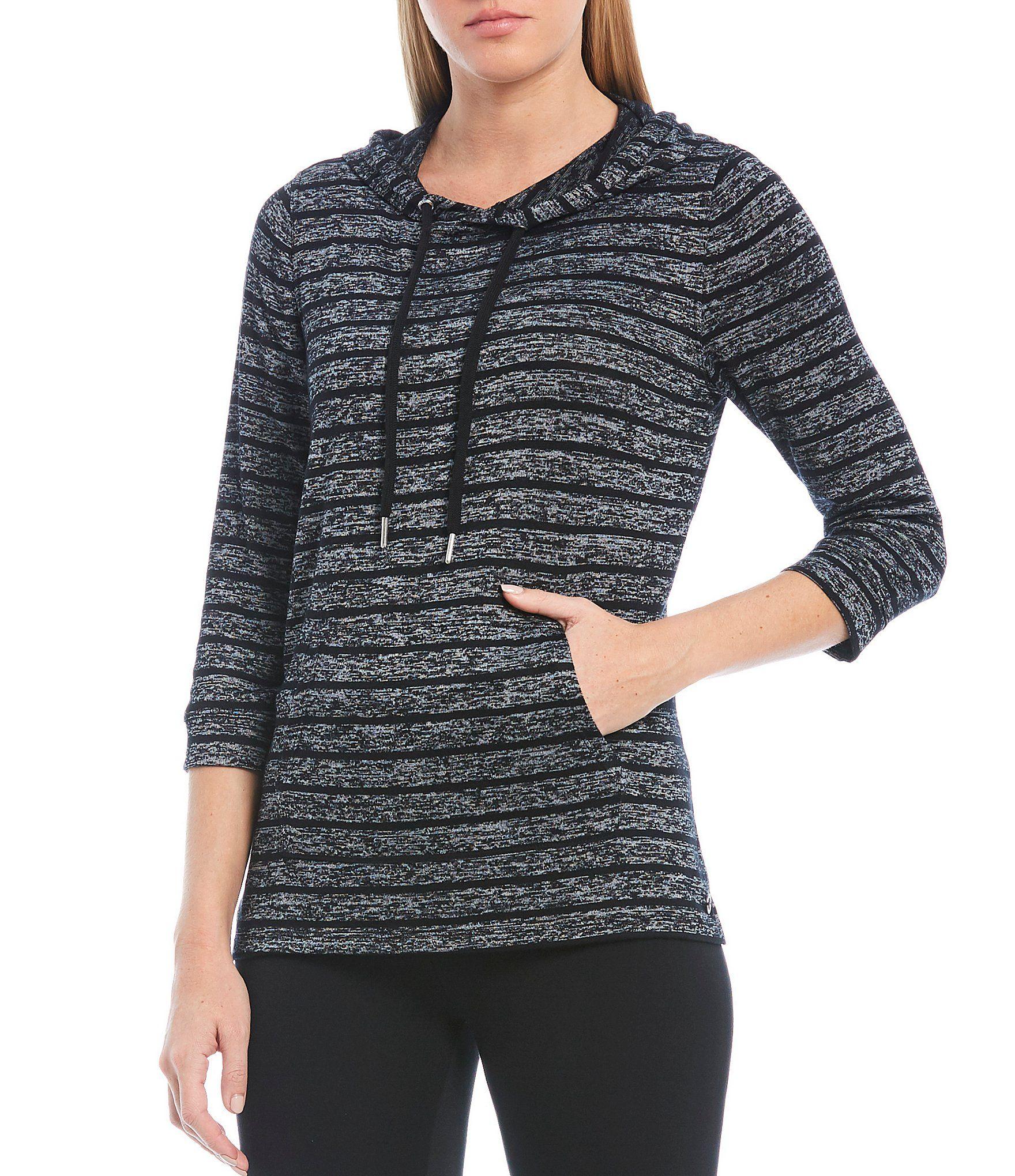 Calvin Klein Performance Stripe Marbled Hacci 34 Sleeve Knit