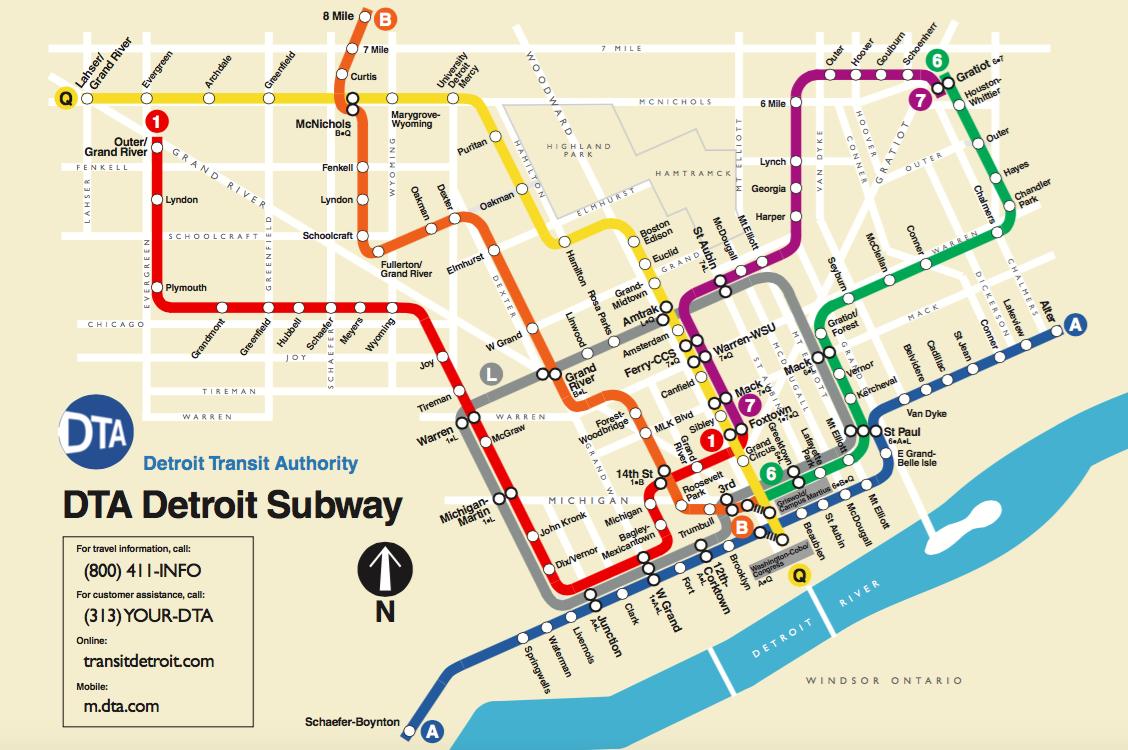 detroit public transportation map The Dta Detroit Subway My Personal Plan For Public Transportation detroit public transportation map