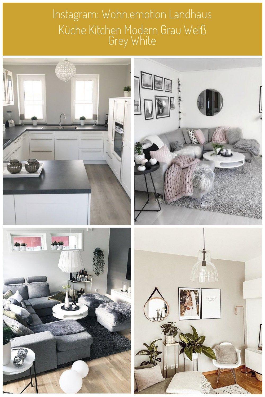 wohn emotion Landhaus Kche kitchen modern grau wei grey ...