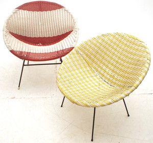 2 X Vintage Vinyl Wicker Bucket Seats Retro Mid Century 60s 70s Furniture |  EBay