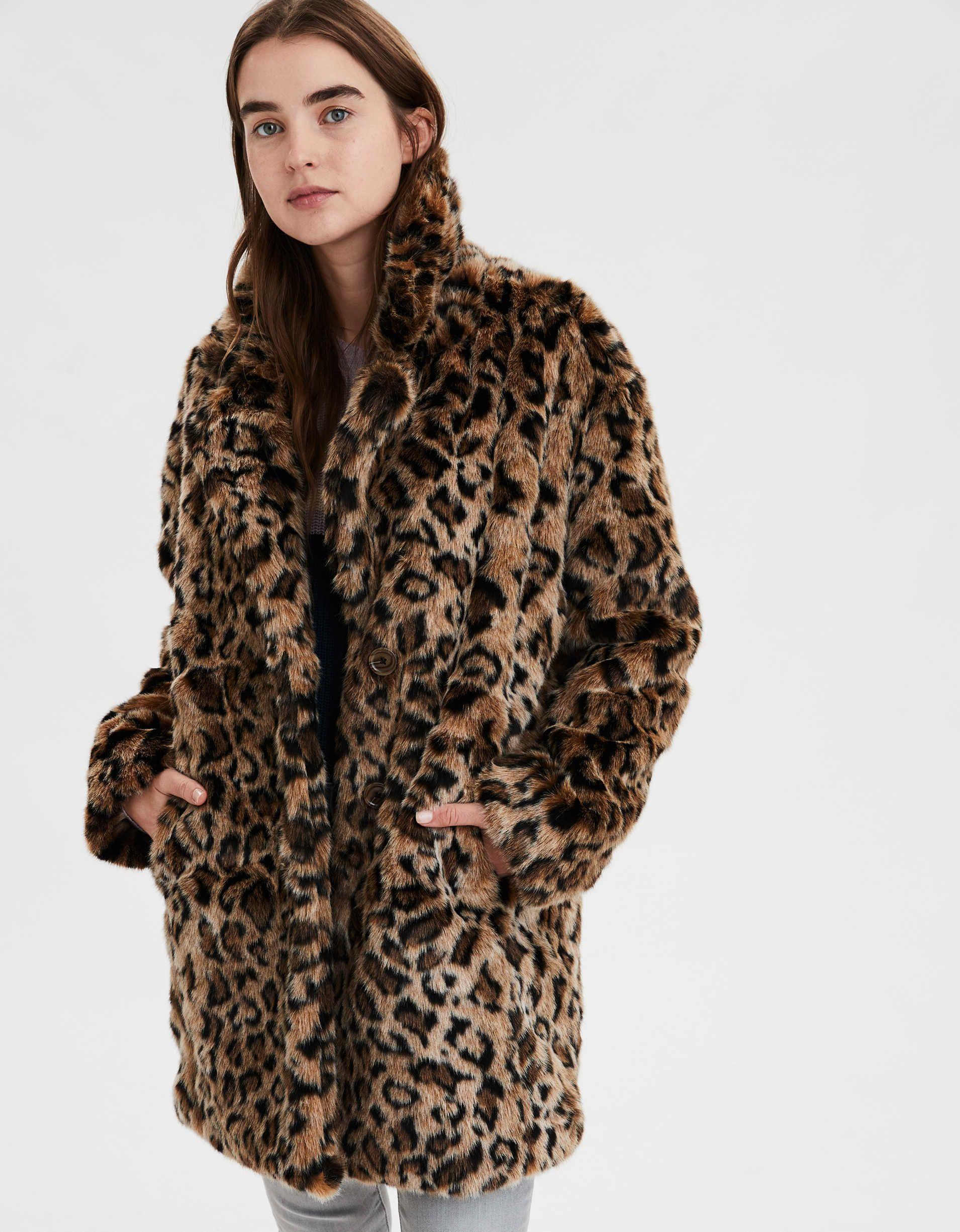 Womens Leopard Color Warm Faux Fur Jacket Coat Super Long Outwear Overcoat Sale
