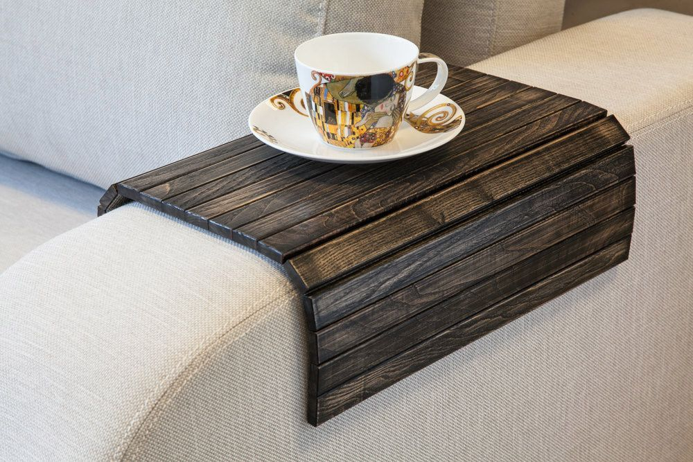 Flexible Wooden Sofa Armrest Tray Table Diy Interior Traevaeg Tabeller