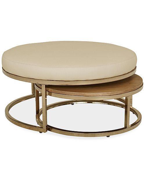 Marble Coffee Table Macys: Jennova Upholstered Round Nesting Coffee Table, Created
