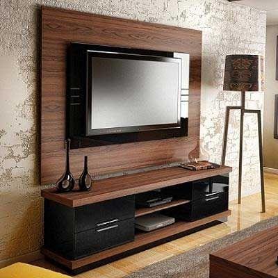 Modelos de rack para salas marrom claro com detalhes em for Modelos de muebles para sala