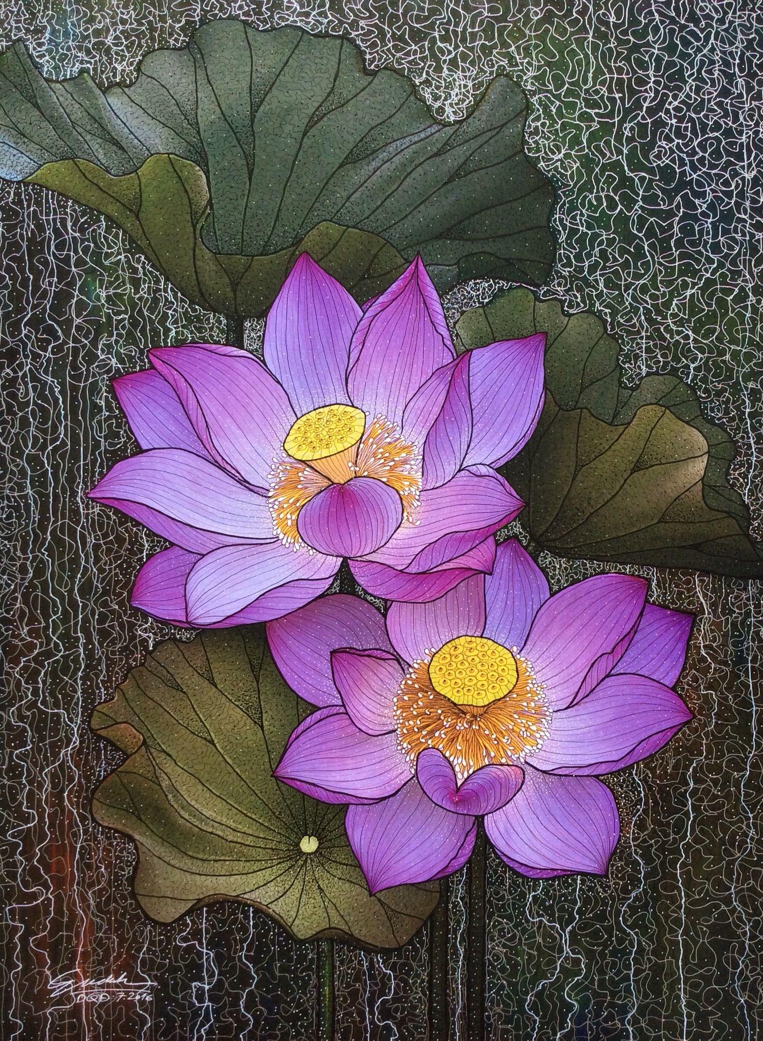 Ghim c a n qu nh tr n hoa sen dessin fleur dessin - Comment dessiner une fleur de lotus ...