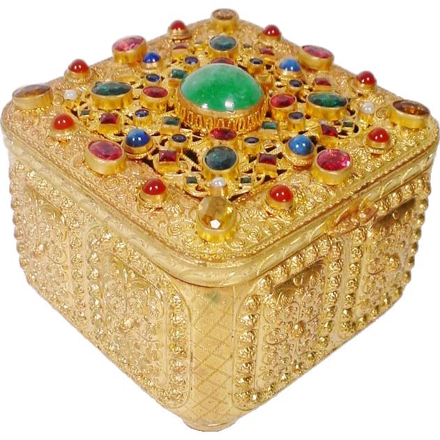 "Antique Austrian Jeweled Hinged Box""FABULOUS GEM FEET"""