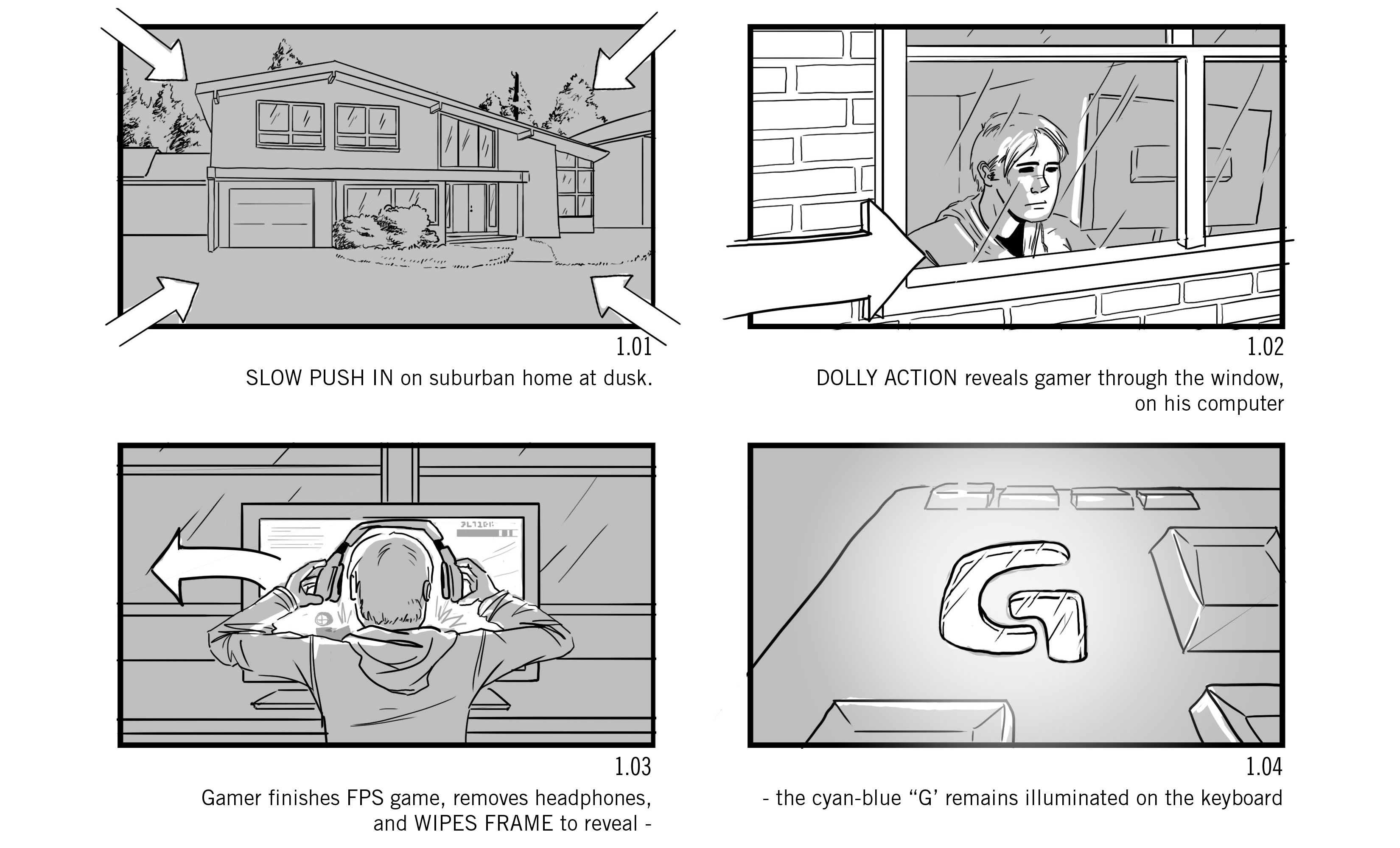 Commercial Storyboards For A Spot Advertising LogitechS G