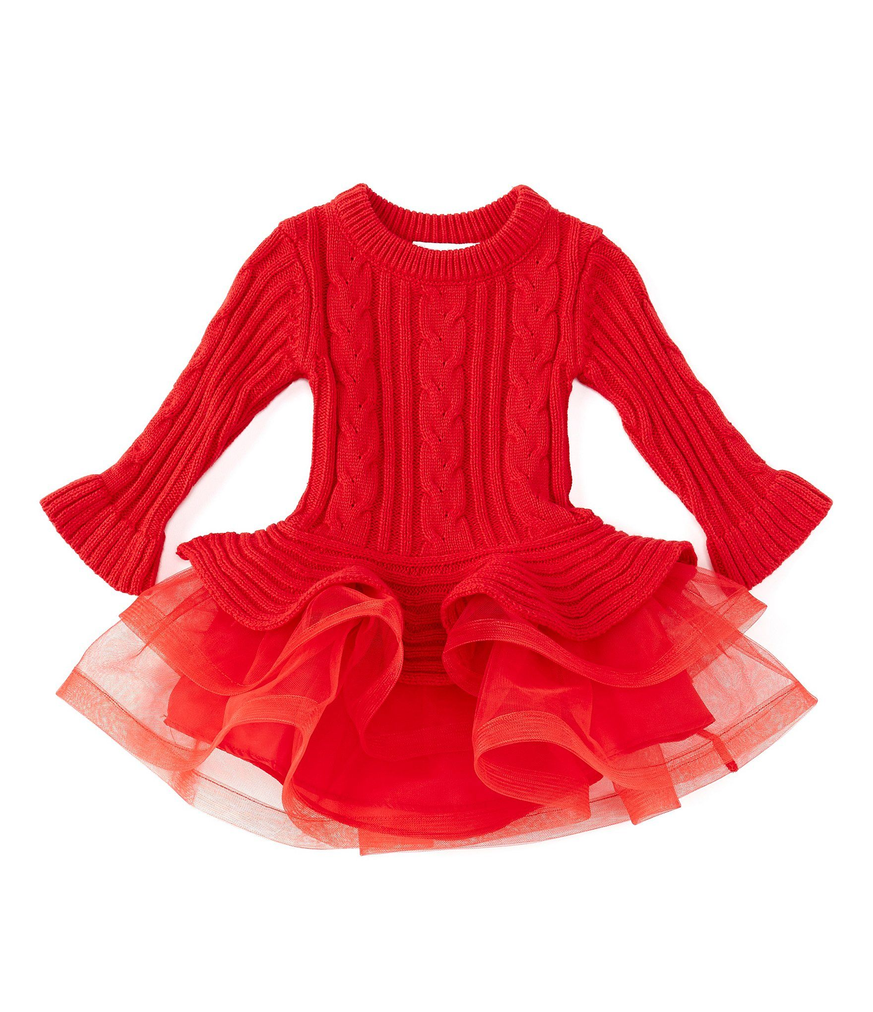 Photo of Bonnie Jean Baby Girls 12-24 Months Cable-Knit Tutu Dress – Red 24 Months