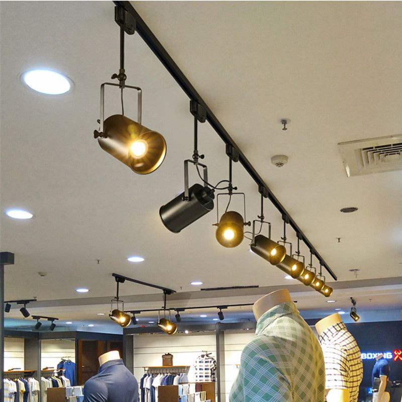 Black Iron Rotated Ceiling Lamp Industrial Clothing Track Light Retro Rail Potlights Store Shop Comm Vintage Ceiling Lights Cheap Ceiling Lights Ceiling Lights