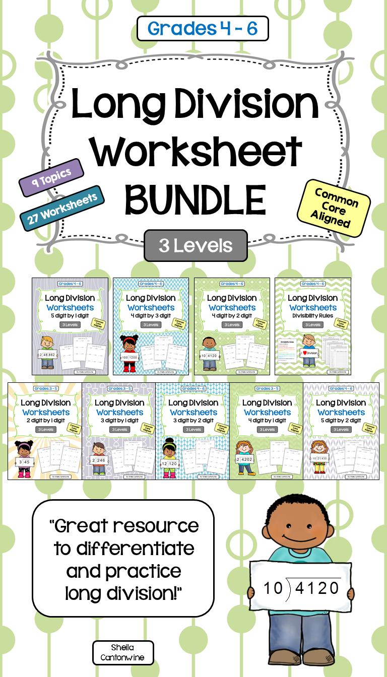 long division worksheet bundle differentiated math long division worksheets long division. Black Bedroom Furniture Sets. Home Design Ideas