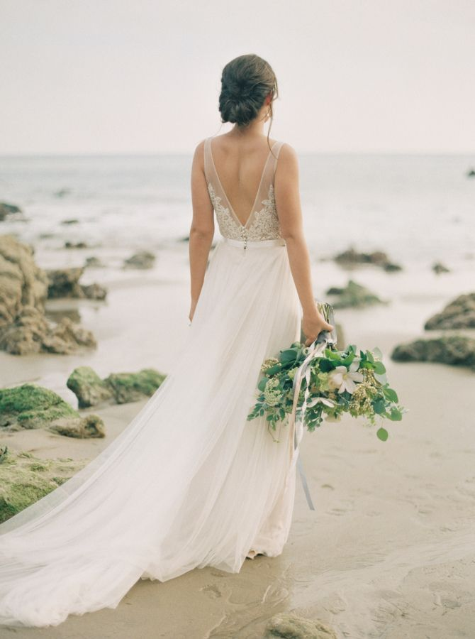 V neck beach wedding dress | fabmood.com
