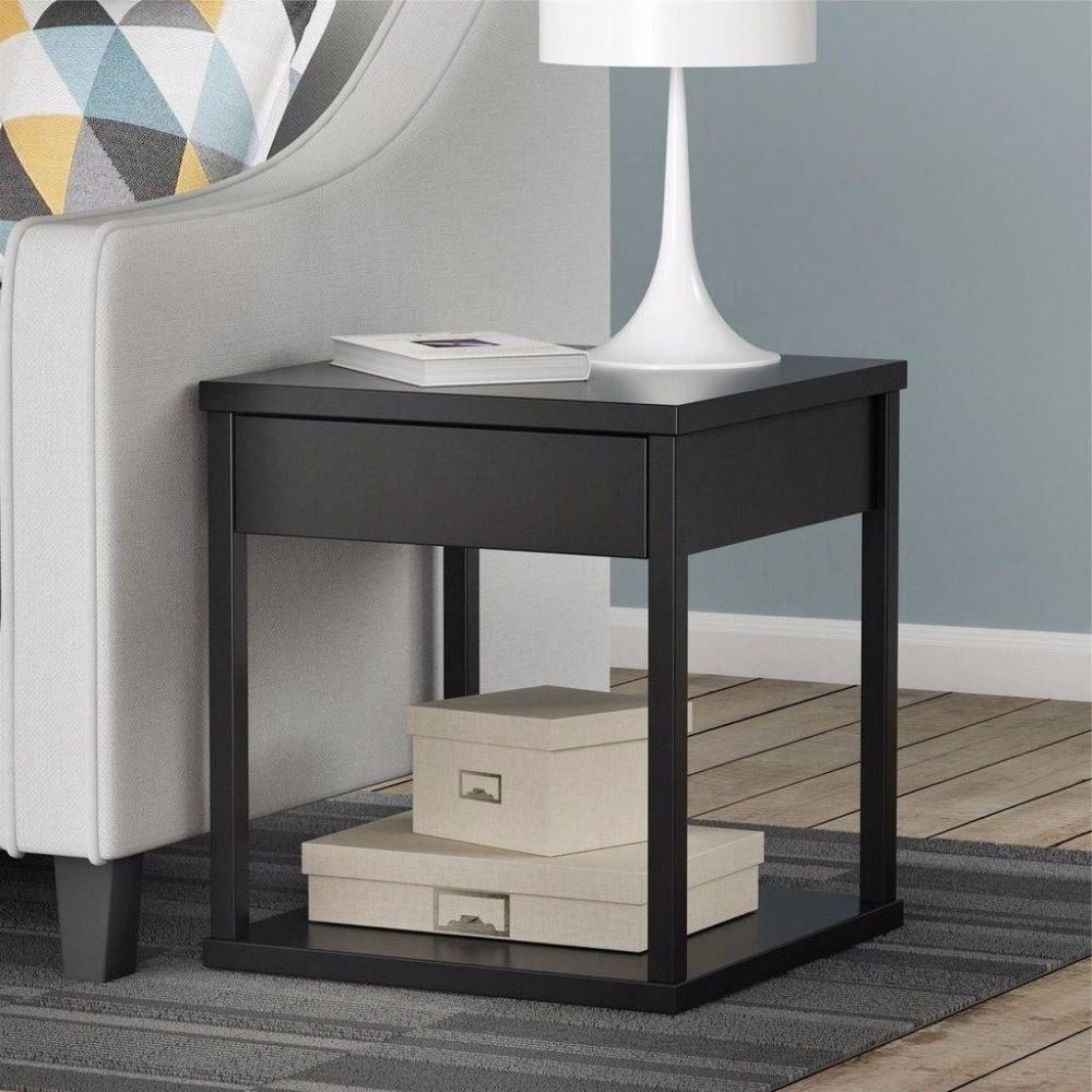 Best Black End Table With Storage Drawer Compact Nightstand 400 x 300
