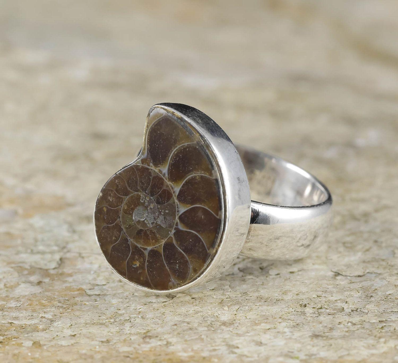 Ammonite Ring Sterling Silver Ring Prehistoric Unique Creature Halloween Pearl Ammonite Pirate Sea Beautiful Sea Ring On Sale