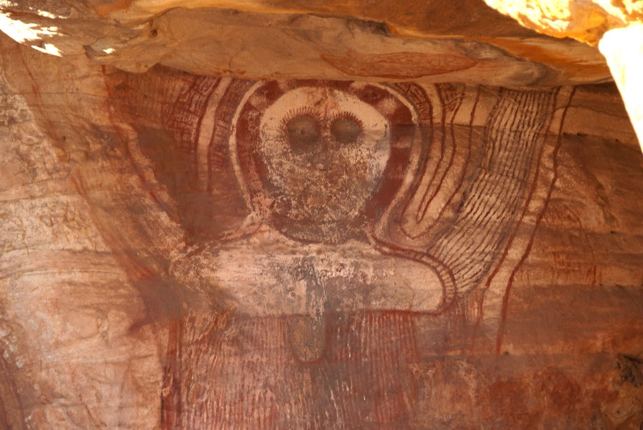 Ancient Aboriginal Rock Art in the caves at Wary Bay, Bigge Island, Kimberley, Western Australia. The paintings include examples of first contact art and Wandjina figures. The rock art was created by the Wunambal people. Photo courtesy & taken by John Benwell.