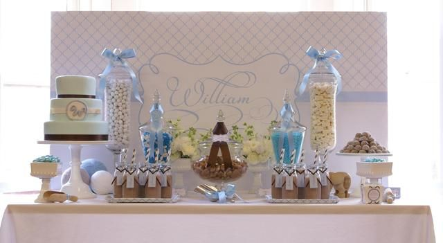 Baby party & Baby Blue White and a contrast of Taupe Baptism Party Ideas ...