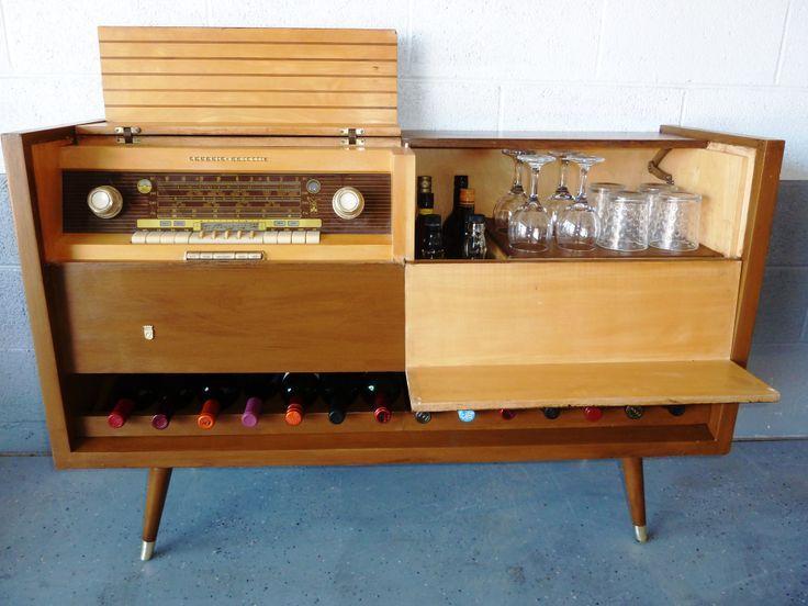 Wonderful 1957 Grundig Console Stereo Drinks Cabinet