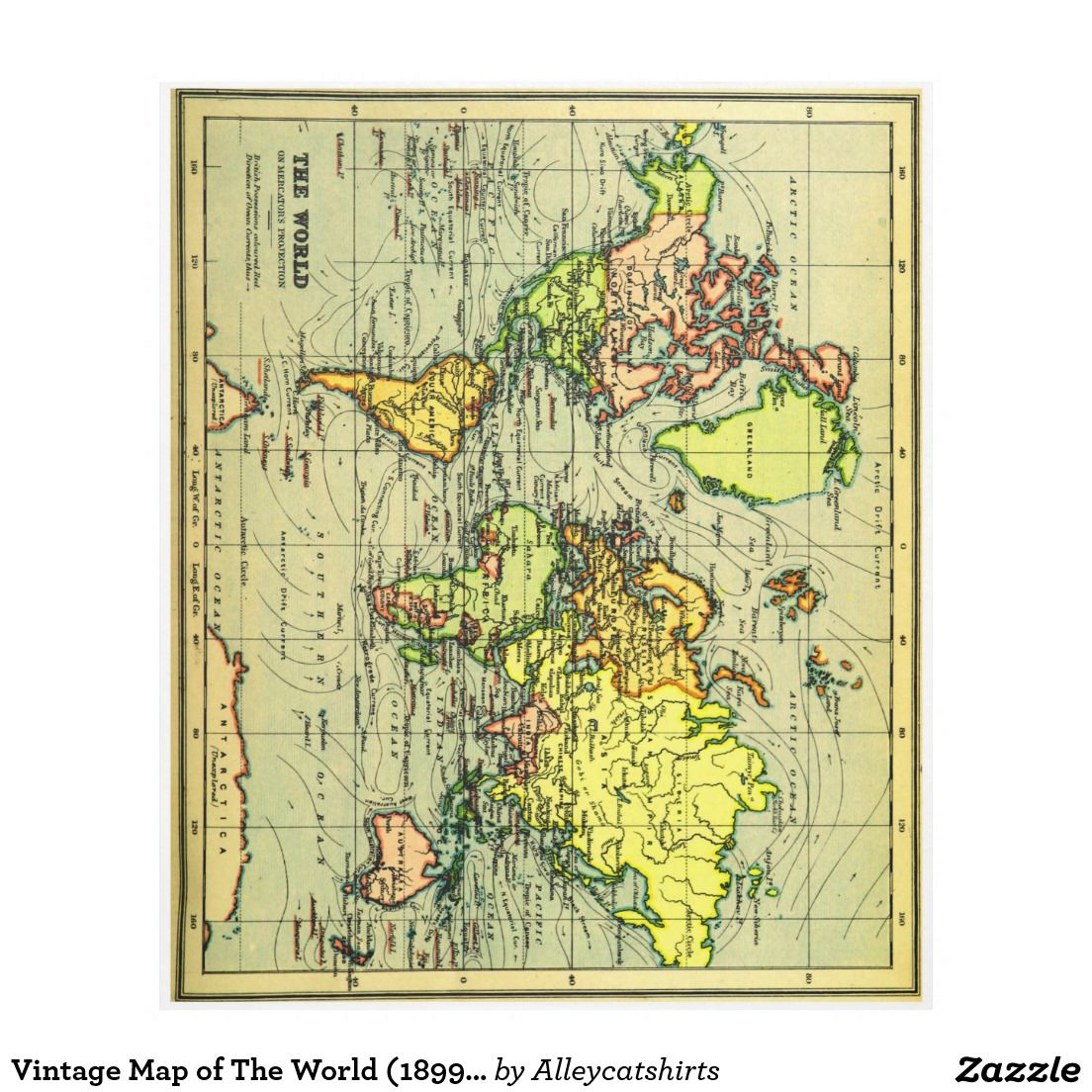 Vintage map of the world 1899 stylized fleece blanket fleece vintage map of the world 1899 stylized fleece blanket gumiabroncs Gallery