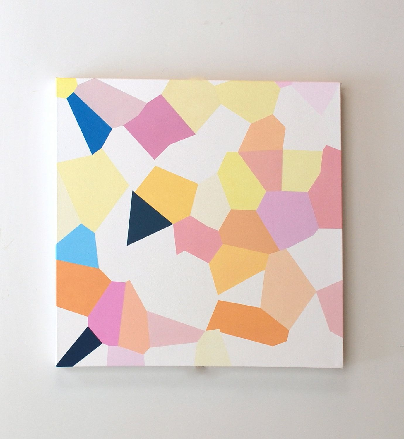 Abstract painting in oil, geometric art, bright colors, pink and ...