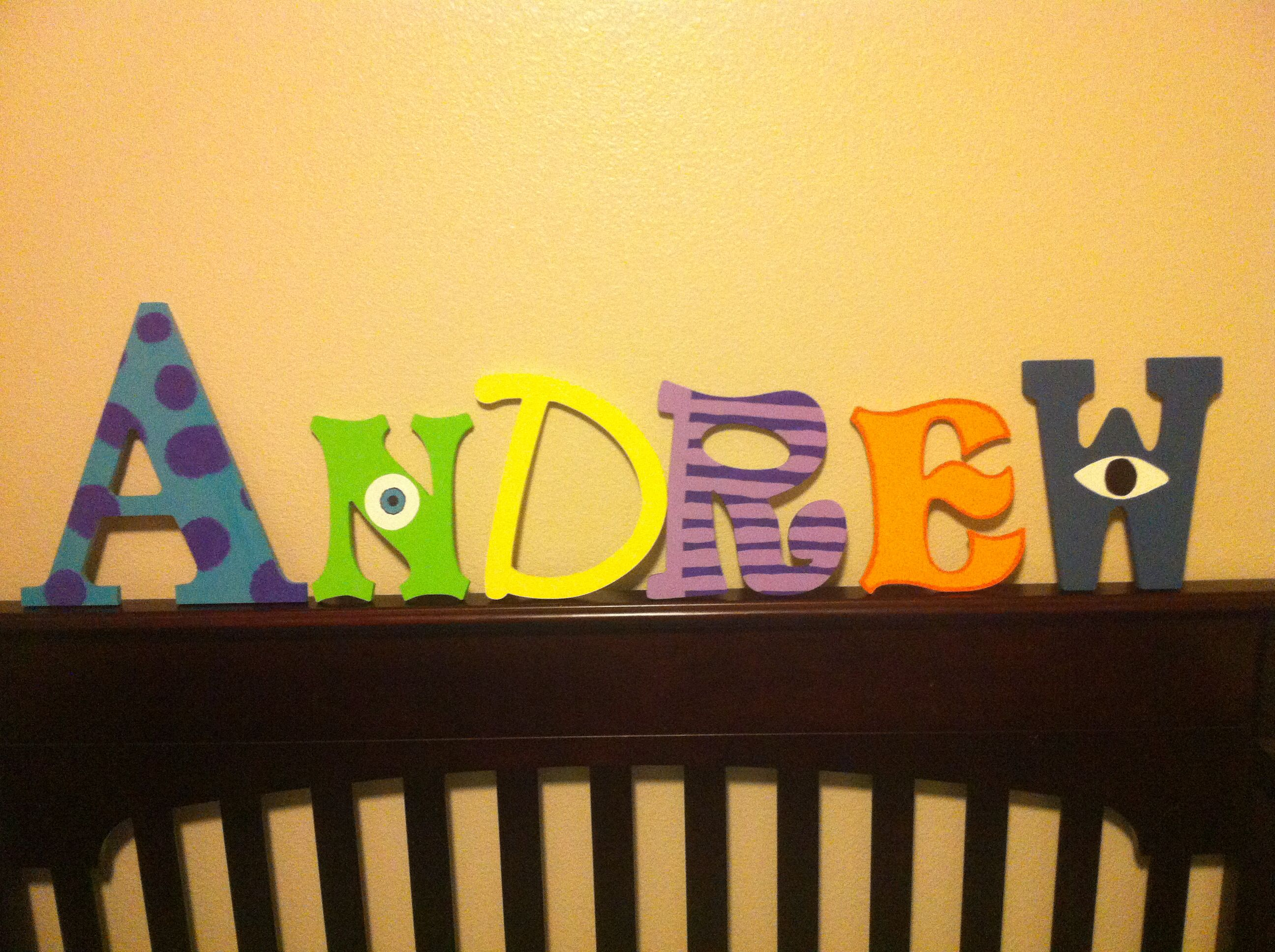 Monsters Inc themed nursery - painted name letters in different ...